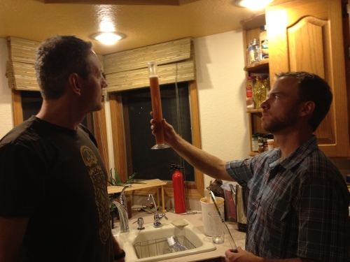 Keith and Steve examine the wort