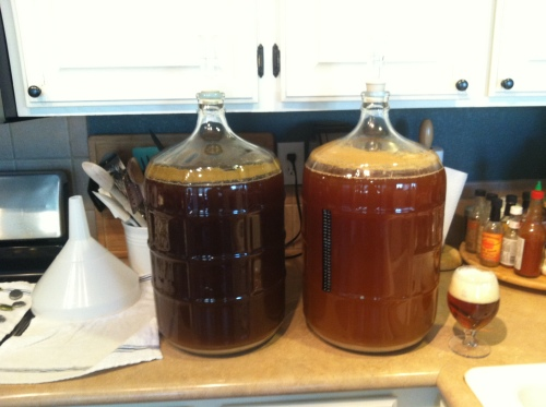 Nut Brown Ale and American Pale Ale ready to bottle